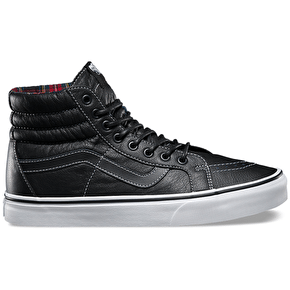 Vans Sk8-Hi Reissue Shoes - (Leather) Black/Plaid