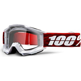 100% Accuri Anti Fog Clear Lens Goggles - Graham Clear/Red
