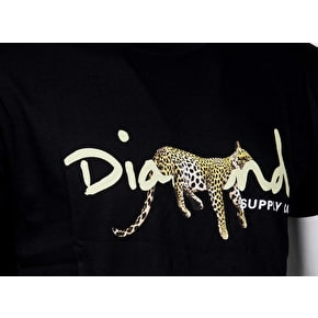 Diamond Leopard OG Script T-Shirt - Black