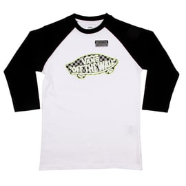 Vans OTW Kids Raglan T-Shirt - White/Black/Reflective Checkerboard