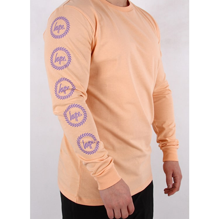 Hype Crest Long Sleeve T shirt - Peach/Purple