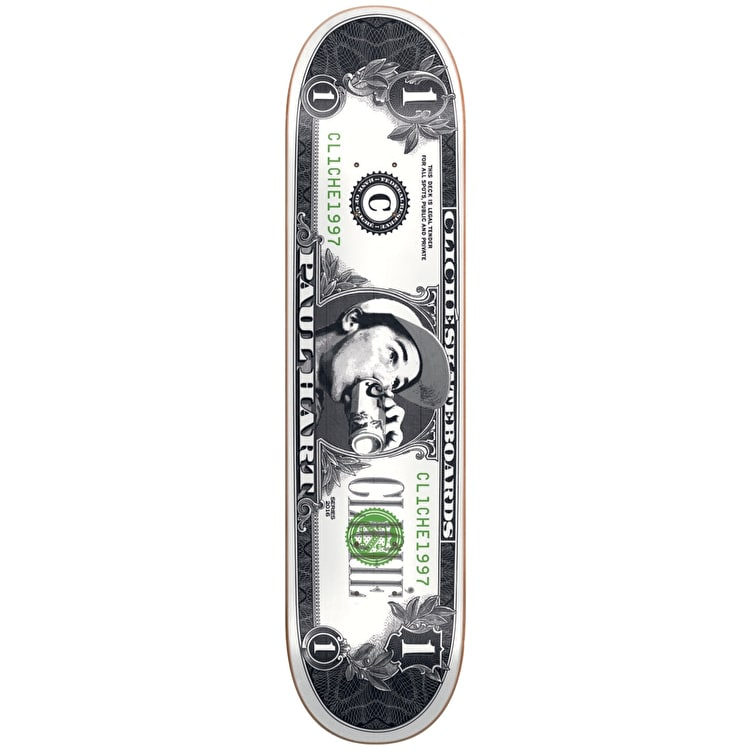 Cliche Dollar Bill Pro R7 Skateboard Deck - Hart 8""