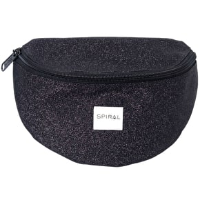 Spiral Harvard Bum Bag - Glitter Black