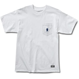 Grizzly Embroidered Pocket T-Shirt - White/Navy