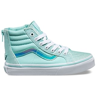 Vans Sk8-Hi Zip Kids Skate Shoes - (Glitter & Iridescent) Blue/True White