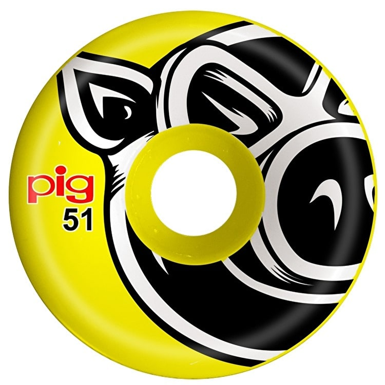 Pig 3D Conical Skateboard Wheels - Yellow 51mm