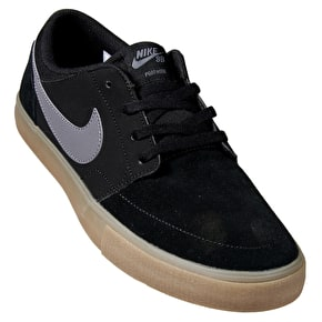 Nike SB Portmore II Solar Skate Shoes - Black/Dark Grey/Gum