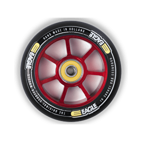 Eagle Spoked 100mm Wheel - Red Core/Black PU