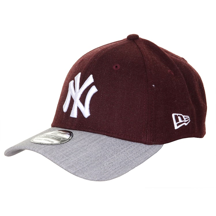 New Era 39Thirty Visor MLB New York Yankees Cap - Maroon/Grey