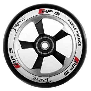Drone RP5 110mm Scooter Wheel - Black/Chrome/White Wall