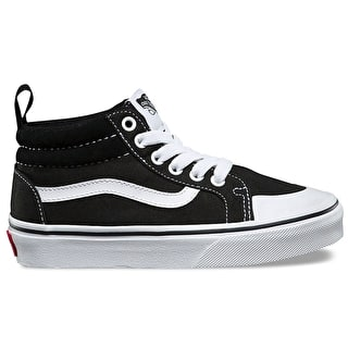 Vans Racer Mid Kids Skate Shoes - (Canvas) Black/True White