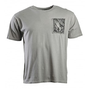 Santa Cruz Praying Hands Pocket T-Shirt - Carbon White