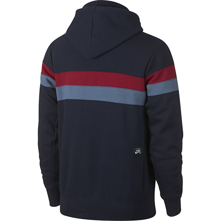 Nike SB Icon Stripes Hoodie - Obsidian/Team Crimson/Team Crimson