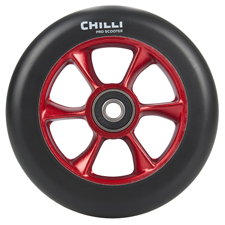 Chilli Pro Turbo 110mm Scooter Wheel w/Bearings - Black/Red