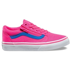 Vans Old Skool Zip Skate Shoes - (Neon Canvas) Pink/Blue