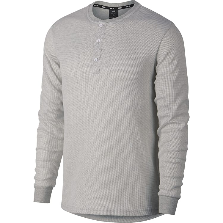 Nike SB Thermal Henley Long Sleeve T Shirt - Dark Grey Heather