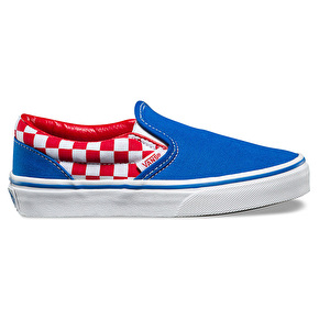Vans Classic Slip-On Kids Shoes - (Checkerboard) Racing Red/Imperial Blue