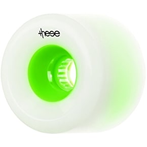 These Freeride 70mm 80a Longboard Wheels - White/Green (Pack of 4)