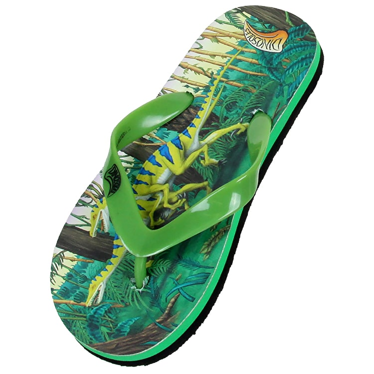Dinosoles Dinoflips Kids Flip Flops - Raptor Green