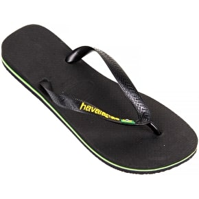 Havaianas Brazil Logo - Black - UK JR 10-11 (B-Stock)
