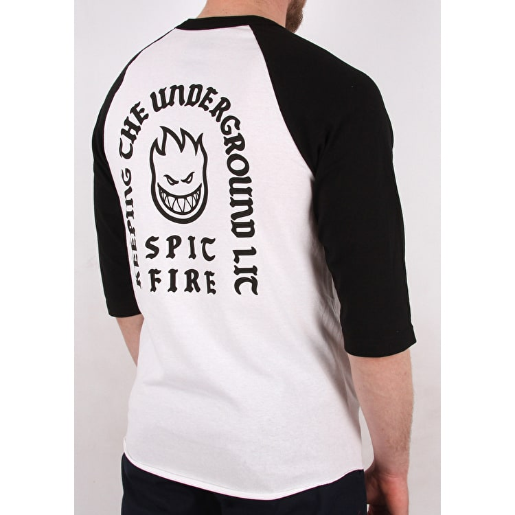 Spitfire Steady Rockin' Raglan T shirt - White/Black