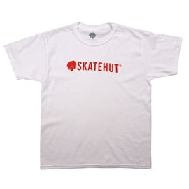 SkateHut Script Logo Kids T shirt - White/Red
