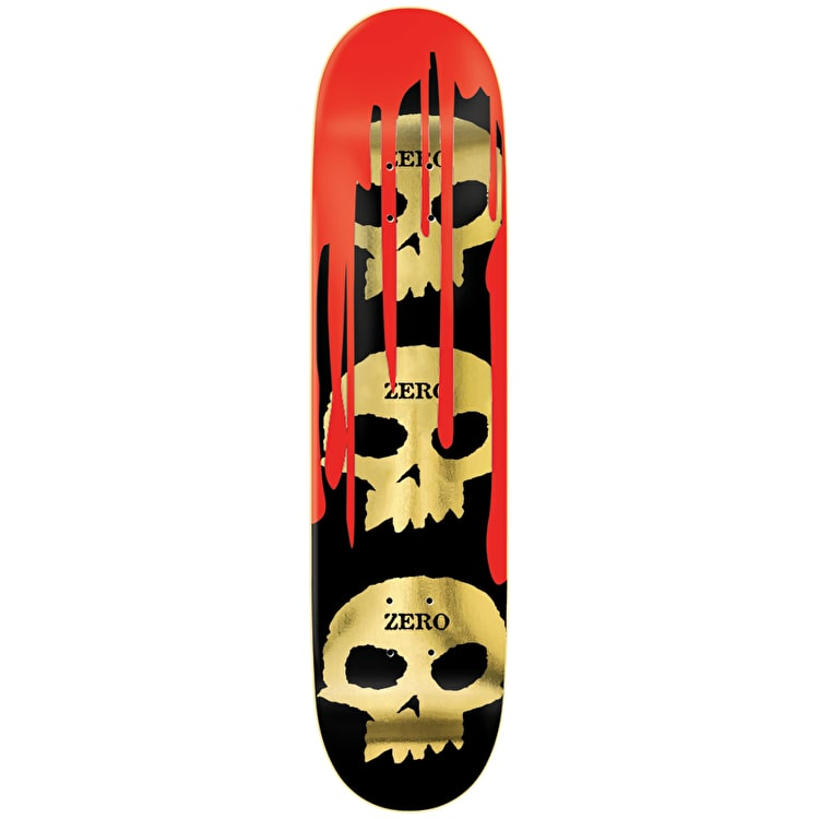 "Zero Burman 3 Skull Blood Skateboard Deck 8.25"" - Gold"