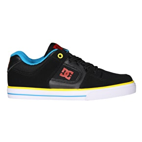 DC Pure Elastic Kids Skate Shoes - Black/Multi
