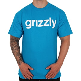 Grizzly Lowercase T shirt - Turquoise/White