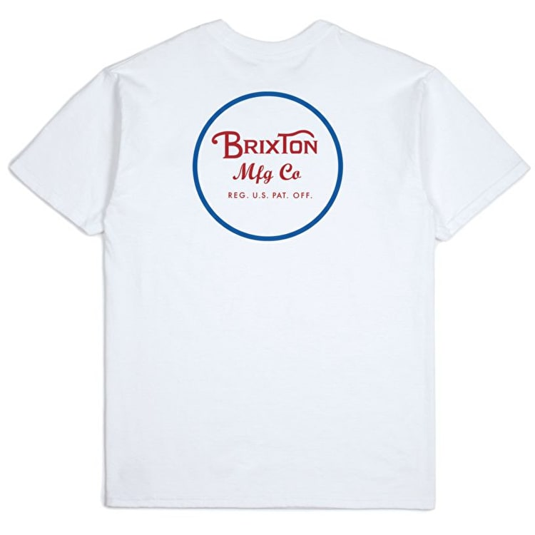 Brixton Wheeler II Standard T Shirt - White/Blue/Red
