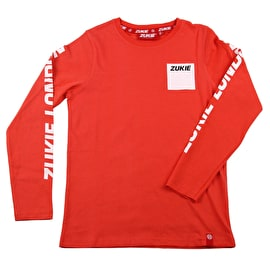 Zukie Box Logo Long Sleeve Kids T Shirt - Red