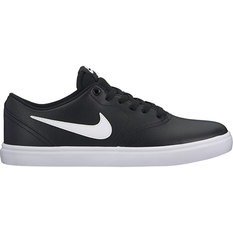 Nike SB Check Solar Leather Skate Shoes - Black/White