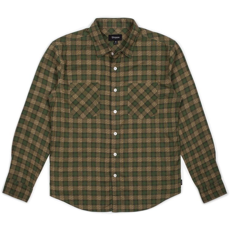 Brixton Bennett Long Sleeve Flannel Shirt - Forest/Khaki