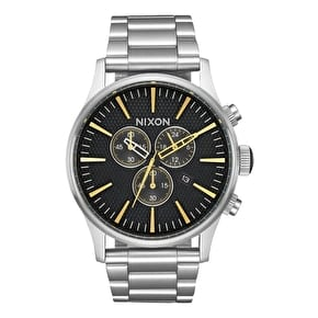 Nixon Sentry Chrono Watch - Black Stamped/Gold