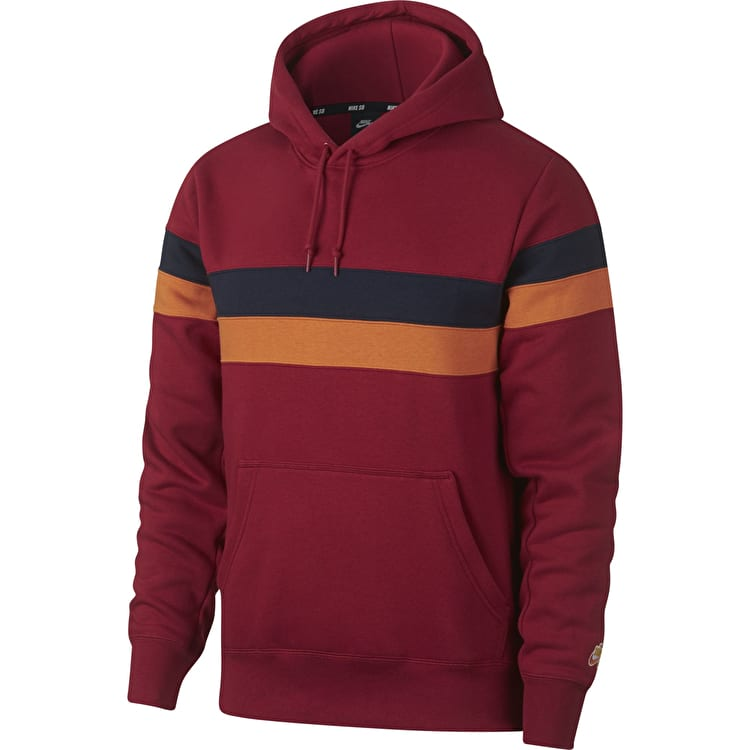 Nike SB Icon Stripes Pullover Hoodie - Team Crimson/Obsidian/Cinder Orange