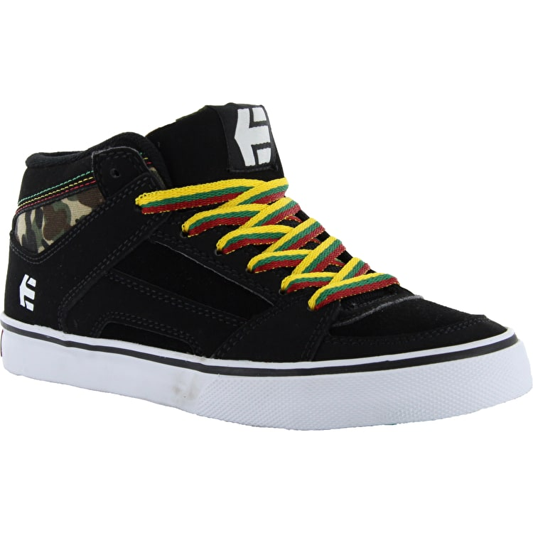 Etnies Kids RVM Vulc Skate Shoes - Black/Green/Gold