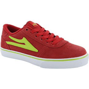 Lakai Kids Manchester Skate Shoes - Red/Lime Suede