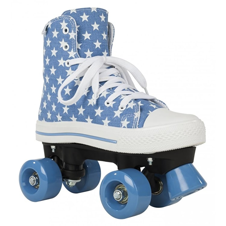 Rookie Quad Roller Skates - Canvas High Stars Blue/White