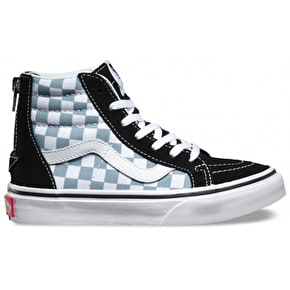Vans Sk8-Hi Zip Kids Shoes - (Checkerboard) Black/Citadel