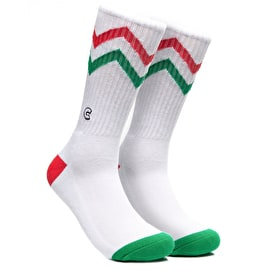 Chrystie C Logo ZigZag Socks - White/Green