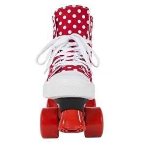 Rookie Quad Skates - Canvas High Polka Dot Red/White