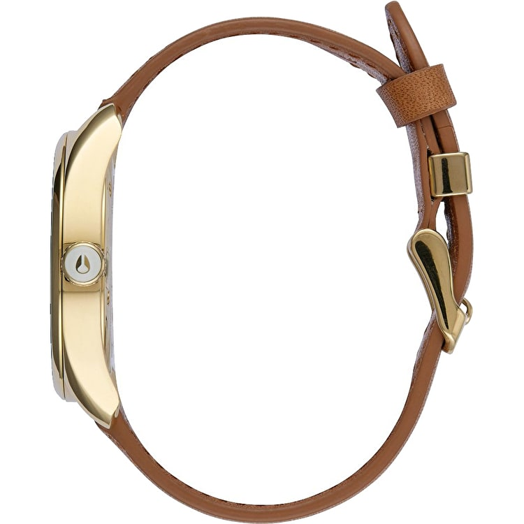 Nixon Bullet Womens Leather Watch - Gold/Saddle
