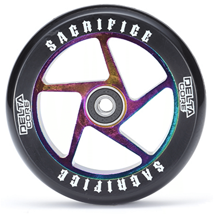 Sacrifice Delta Core 110mm Scooter Wheel w/Bearings - Black/Neochrome SECONDS