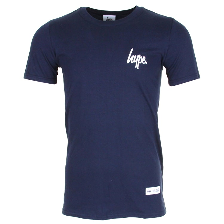 Hype Mini Script Logo T-Shirt - Navy/White