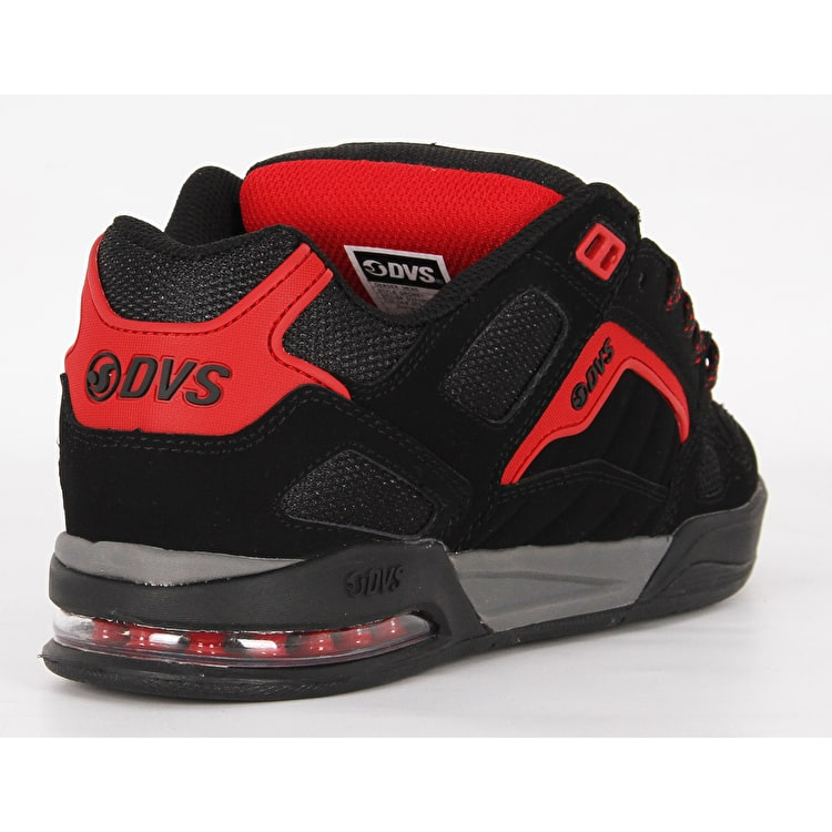 DVS Drone+ Skate Shoes - Black/Red Nubuck