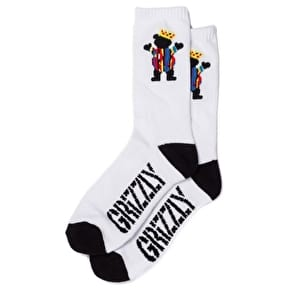 Grizzly Biggie Bear Socks - White