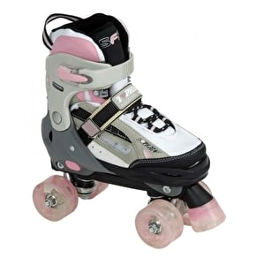 SFR Typhoon Adjustable Girls Quad Skates - Black/Pink