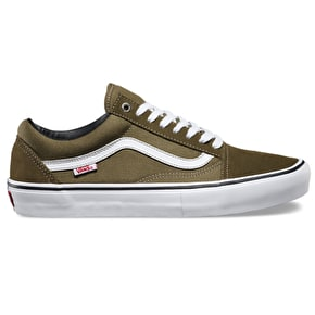 Vans Old Skool Pro Shoes - Dark Olive/White