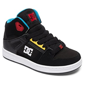 B-Stock DC Rebound Kids Skate Shoes - Black/Multi J13 (Box Damage)