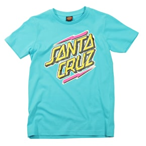 Santa Cruz Kids T-Shirt - Quake Strip Cyan